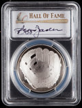 Baseball Collectibles:Others, 2014 Reggie Jackson Signed Baseball Hall of Fame Silver Dollar PCGSPR70DCAM Coin. ...