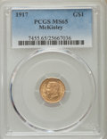 Commemorative Gold, 1917 G$1 McKinley Gold Dollar MS65 PCGS. PCGS Population (591/478). NGC Census: (291/236). Mintage: 10,000. Numismedia Wsl....