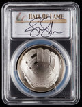 Baseball Collectibles:Others, 2014 Jennie Finch Signed Baseball Hall of Fame Silver Dollar PCGSPR70DCAM Coin. ...