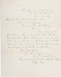 Autographs:Celebrities, George Armstrong Custer: An Unusual Signed Letter as Commander ofthe 7th Cavalry Dealing with the Suicide of a Fellow Officer...