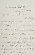 Miscellaneous:Ephemera, Elizabeth Custer: A Fabulous December 3, 1876 Letter to the General's Widow Detailing Efforts to Retrieve His Personal Effects...