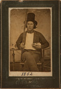 Books:Prints & Leaves, [Americana] [Photography]. Carte de Visite of a Young Man and HisSword. [Richmond: Schlegel, circa 1852]....