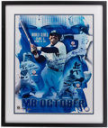 Baseball Collectibles:Others, 1977 Reggie Jackson World Series Multi Signed Print....