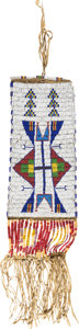 American Indian Art:Beadwork and Quillwork, A Sioux Beaded Hide Tobacco Bag....