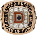 Football Collectibles:Others, 1988 Craig Morton Denver Broncos Ring of Fame Ring. ...