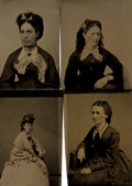 Books:Prints & Leaves, [Photography]. Group of Four Tintypes of Women's Portraits. [N.p.,circa 1860]....