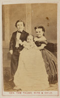 """Books:Prints & Leaves, [American History] [Photography]. Carte de Visite of """"Gen. TomThumb, Wife & Child."""" [N.p., circa 1865]...."""