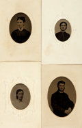 Photography:Tintypes, Group of Four Hand-Tinted Portrait Tintypes. [n.d., circa 1860]....
