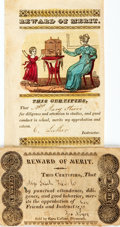 Miscellaneous:Ephemera, Pair of Nineteenth-Century Children's Rewards of Merit. One withhand-coloring. Various publishers, circa 1840. ...