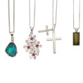 Estate Jewelry:Necklaces, Multi-Stone, Diamond, Platinum, White Gold Pendant-Necklaces. ...(Total: 4 Items)
