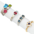 Estate Jewelry:Rings, Multi-Stone, Platinum, Gold, White Gold Rings. ... (Total: 4 Items)