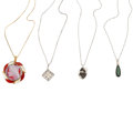 Estate Jewelry:Necklaces, Multi-Stone, Diamond, Platinum, Gold, White Gold Pendant-Necklaces. ... (Total: 4 Items)