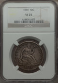 Seated Half Dollars: , 1889 50C VF25 NGC. NGC Census: (3/101). PCGS Population (4/170). Mintage: 12,000. Numismedia Wsl. Price for problem free NG...