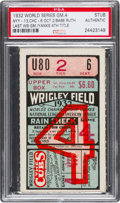 Baseball Collectibles:Tickets, 1932 Babe Ruth Final World Series Ticket Stub, PSA Authentic. ...