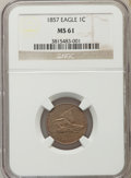 Flying Eagle Cents, 1857 1C MS61 NGC. NGC Census: (140/2096). PCGS Population: (65/2989). CDN: $480 Whsle. Bid for NGC/PCGS MS61. Mintage 17,45...