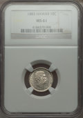 Coins of Hawaii: , 1883 10C Hawaii Ten Cents MS61 NGC. NGC Census: (20/99). PCGSPopulation (10/135). Mintage: 250,000. ...