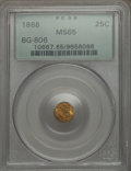 California Fractional Gold: , 1868 25C Liberty Round 25 Cents, BG-806, R.3, MS65 PCGS. PCGSPopulation (57/24). NGC Census: (11/28). ...