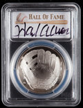 Baseball Collectibles:Others, 2014 Hank Aaron Signed Baseball Hall of Fame Silver Dollar PCGSPR70DCAM Coin - First Strike. ...