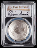 Baseball Collectibles:Others, 2014 Ozzie Smith Signed Baseball Hall of Fame Silver Dollar PCGSMS70 Coin. ...