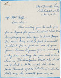 "Baseball Collectibles:Bats, 1949 Bill ""Ready"" Cash Hand Written Letter to Red Rolfe Asking for Tryout with Incredible Content. ..."