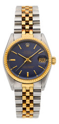 Timepieces:Wristwatch, Rolex Ref. 6800 Two Tone Mid-Size Datejust. ...
