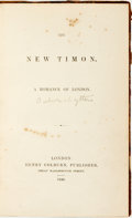 Books:Literature Pre-1900, [Edward Bulwer-Lytton]. The New Timon: A Romance of London.London: Henry Colburn, 1846....