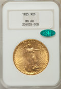 Saint-Gaudens Double Eagles: , 1925 $20 MS60 NGC. CAC. NGC Census: (220/51869). PCGS Population (428/45920). Mintage: 2,831,750. Numismedia Wsl. Price for...