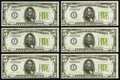 Small Size:Federal Reserve Notes, Fr. 1952-I $5 1934 Light Green Seal Federal Reserve Notes. Six Consecutive Examples.. ... (Total: 6 notes)