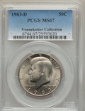 Kennedy Half Dollars, 1983-D 50C MS67 PCGS. Ex: Vennekotter Collection. PCGS Population(30/0). NGC Census: (5/0). Mintage: 32,472,244. Numismedi...