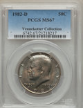 Kennedy Half Dollars, 1982-D 50C MS67 PCGS. Ex: Vennekotter Collection. PCGS Population(18/0). NGC Census: (11/0). Mintage: 13,140,102. Numismed...