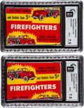 """Non-Sport Cards:Unopened Packs/Display Boxes, 1954 Bowman """"Firefighters"""" 5-Cent Wax Packs GAI NM+ 7.5 Pair. ..."""