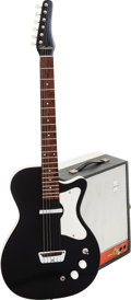 Musical Instruments:Electric Guitars, Circa 1959 Silvertone Model 1302 Black Solid Body Electric Guitarand 1960's Model 9075 Suitcase Guitar Amplifier.... (Total: 2Items)