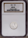 Seated Dimes: , 1861 10C MS65 NGC. NGC Census: (19/12). PCGS Population(28/4).Mintage: 1,884,000. Numismedia Wsl. Price: $1,275.(#4633)...
