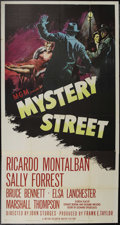 "Movie Posters:Film Noir, Mystery Street (MGM, 1950). Three Sheet (41"" X 81""). John Sturges directs this tight film noir drama about a detective who u..."