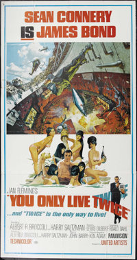 """You Only Live Twice (United Artists, 1967). Three Sheet (41"""" X 81""""). This was the first Bond film to take grea..."""