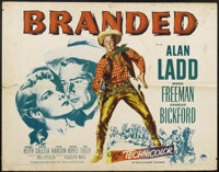 "Branded (Paramount, 1951). Half Sheet (22"" X 28""). Alan Ladd stars as a crook out to swindle a rancher out of..."