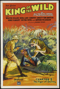 """King of the Wild (Mascot, 1931). One Sheet (27"""" X 41""""). This 12-chapter Mascot serial follows a soldier of for..."""