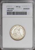 Proof Seated Quarters: , 1874 25C Arrows PR62 ANACS. NGC Census: (17/160). PCGS Population (27/143).Mintage: 700. Numismedia Wsl. Price: $785. (#557...