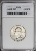 Washington Quarters: , 1936-D 25C MS64 ANACS. NGC Census: (230/203). PCGS Population(504/353).Mintage: 5,374,000. Numismedia Wsl. Price: $925. (#...