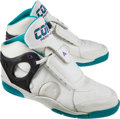 Basketball Collectibles:Others, 1992 Larry Johnson Game Worn, Signed Charlotte Hornets RookieSneakers....