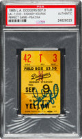 Baseball Collectibles:Tickets, 1965 Sandy Koufax Perfect Game Los Angeles Dodgers Ticket Stub,Signed....