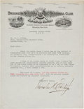 Baseball Collectibles:Others, 1923 Charles Ebbets Signed Letter....