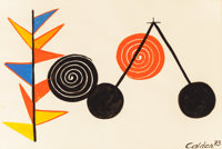 Alexander Calder (1898-1976) Balancier, 1973 Gouache and ink on paper 29 x 42-1/2 inches (73.7 x