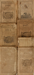 Books:Americana & American History, [Almanacs]. Robert B. Thomas. Seven Issues of The Farmer'sAlmanack, 1802 - 1819. Various publishers, [1801 - 18...(Total: 7 Items)