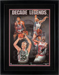 "Basketball Collectibles:Photos, 1999 ""Decade Legends"" Chamberlain, Bird, Jordan and ErvingMulti-Signed UDA Print...."
