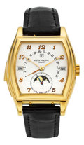 Timepieces:Wristwatch, Patek Philippe Ref. 5013J Extremely Fine, Rare & Important Gold Minute Repeating Wristwatch With Perpetual Calendar And Moon P...