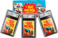 Non-Sport Cards:Unopened Packs/Display Boxes, 1966 Topps Rat Patrol Empty Wax Pack Box Plus Three Graded Packs....