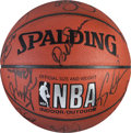 Basketball Collectibles:Balls, 1996-97 Los Angeles Lakers Team Signed Basketball....