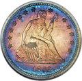 Proof Seated Quarters, 1866 25C Motto PR64 ★ Cameo NGC. Briggs 2-B....