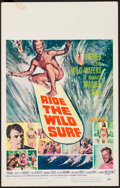 "Movie Posters:Sports, Ride the Wild Surf (Columbia, 1964). Window Card (14"" X 22""). Sports.. ..."